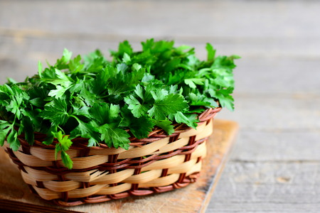 Green parsley sprigs in a brown wicker basket on a vintage wooden background with empty space for text. Garden fresh parsley photo. Closeup