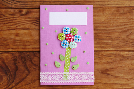 Mothers Day Or Mom Birthday Greeting Card With Flower Isolated