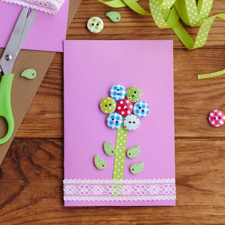 Homemade greeting card for kids to make stationery on a brown homemade greeting card for kids to make stationery on a brown wooden table happy m4hsunfo