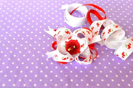 Handmade bow of ribbon, childrens hair accessory, ribbon set Stock Photo