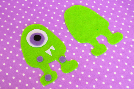 Sewing set for felt monster - how to make a monster handmade toy Stock Photo