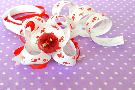 Handmade bow of ribbon, children's hair accessory, ribbon set Banco de Imagens