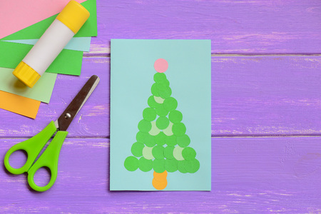 Colorful greeting card with christmas tree beautiful christmas colorful greeting card with christmas tree beautiful christmas greeting card stationery on a wooden m4hsunfo