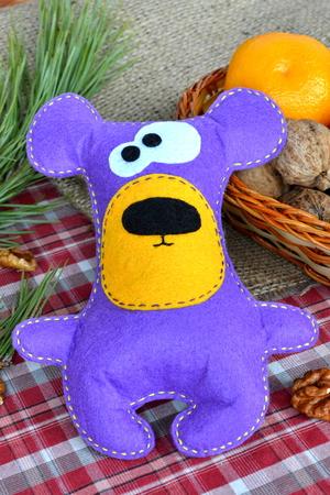 Handmade felt purple bear toy