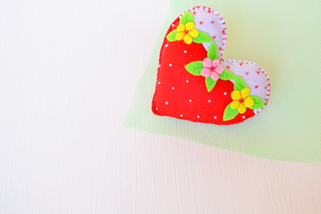 Handmade felt heart - symbol of Valentines Day, beautiful heart handmade