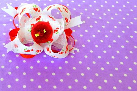 Handmade bow of ribbon, childrens hair accessory