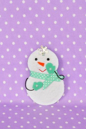 Handmade felt Christmas snowman toy. Christmas tree ornament. Felt crafts