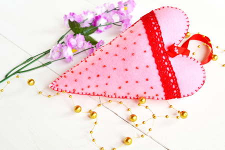 Pink lace heart with beads and red lace. Valentines day decor. Felt heart. Valentines day heart. Gift for Valentines day decor. Felt Heart ornament. Valentine decoration
