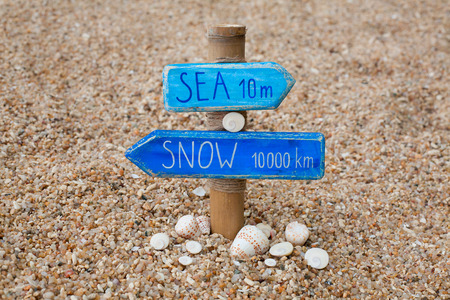 wooden handmade: wooden handmade signpost on the beach Stock Photo