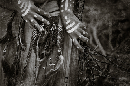 tribal woman: Indian woman hunter hands close up