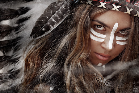 indian woman traditional: Indian woman hunter