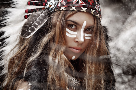 headdresses: Indian woman hunter