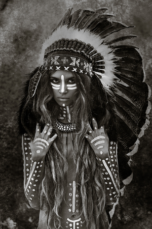 Indian woman hunter in chieftain