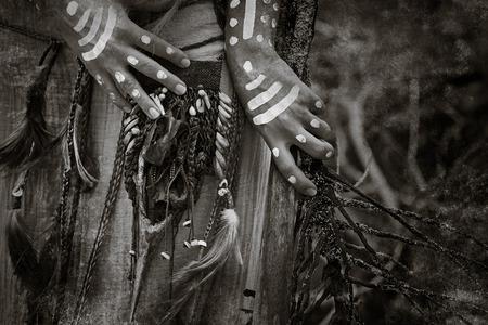 indian artifacts: Indian woman hunter hands close up