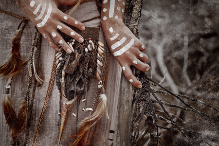 indian artifacts: african style woman hands close up