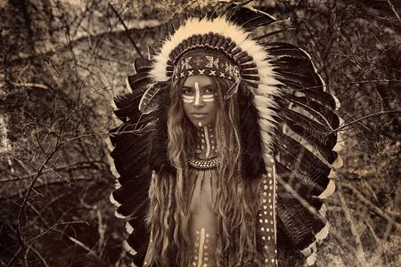Cazador de la mujer india Foto de archivo