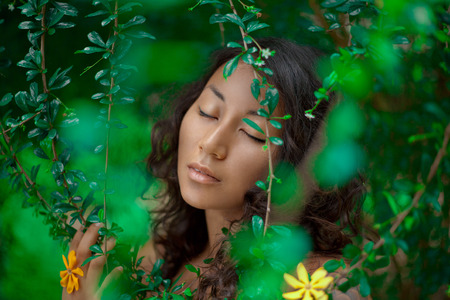 Portrait of beautiful asian girl with eyes closed