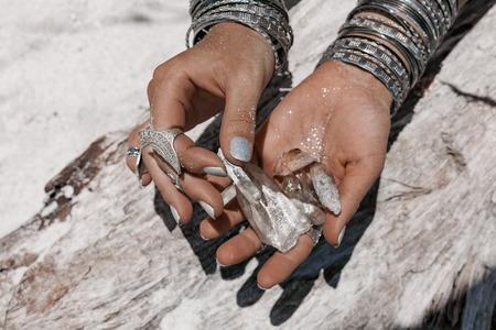 close up of woman hands holding magic stones Reklamní fotografie