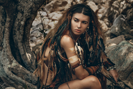 wild amazon woman in forest Stock Photo