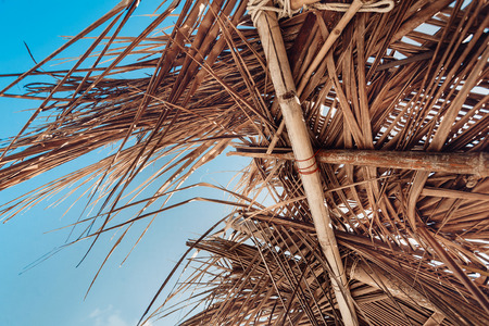 close up of hovel made of palm leaves on beach
