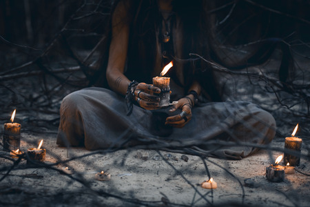woman hands holding candle close up Archivio Fotografico