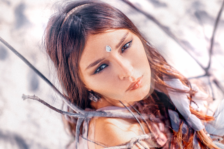 Beautiful young boho style woman portrait outdoors. Double exposure