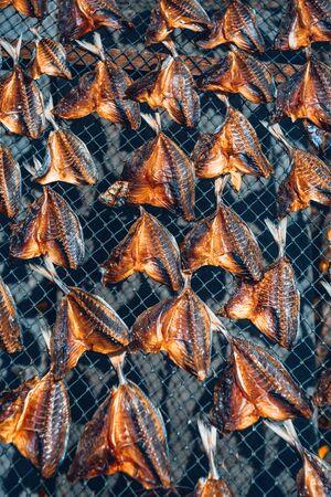 dried fish sun bath pattern asian cousine concept