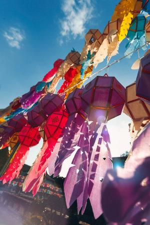 close up of colorful paper lantern at buddist temple at sunset Reklamní fotografie