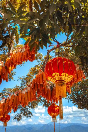 сhinese lanterns and colorful corn at blue sky background Reklamní fotografie