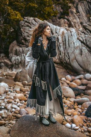 beautiful young fashionable woman outdoors