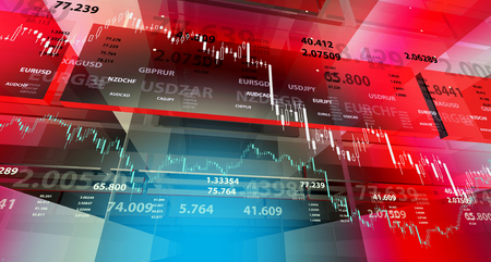 stock price: Red background with market chart and digits.