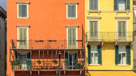 case colorate: Case colorate. Verona, Italia.