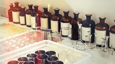 Flasks and test tubes in the perfume  laboratory.