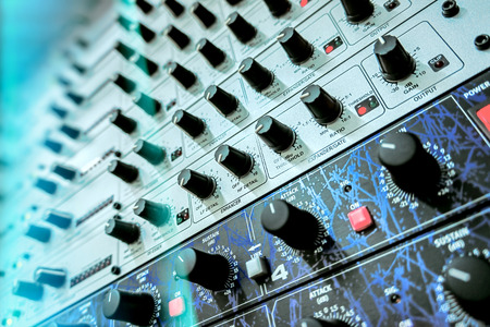 processors: Audio effects processors in a rack. Stock Photo