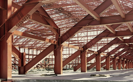 steelwork: Metal construction. Stadium under construction.