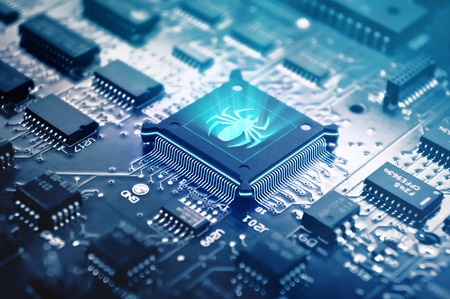 malicious: Chip Killer. Chip with malicious code. Stock Photo