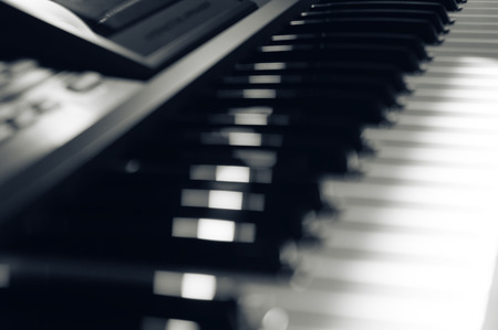 musical score: Close view of an electronic musical instrument.