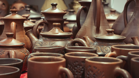 ewer: Handmade pottery at a workshop.