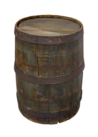 Old wooden barrel. Isolated on white.