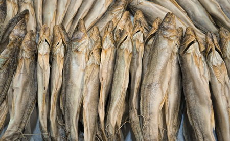 Dried fish are piled up helter-skelter.