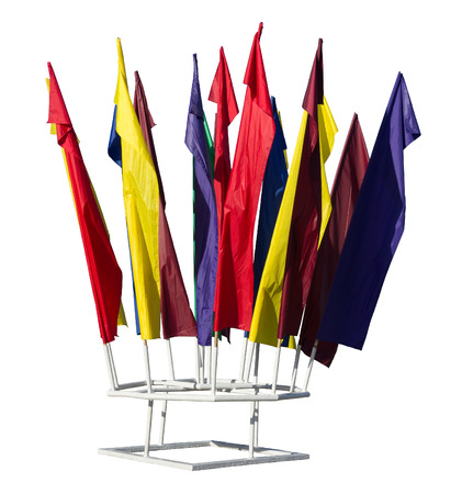 Flagpole with group of flags. 版權商用圖片