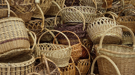 Handmade baskets are piled up helter-skelter.