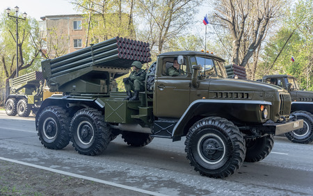 RUSSIA, KHABAROVSK, 09.05.2014: Russian BM-21 Grad Multiple Rocket Launcher
