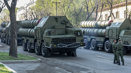 RUSSIA, KHABAROVSK, 09.05.2014: Russian S-400 Triumf