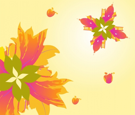 Autumn flowers, motifs of the city   Stock Vector - 16965285