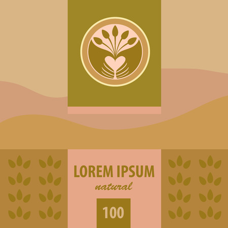 tea plantation: Vector logo and labels. Planting. Tea plantation