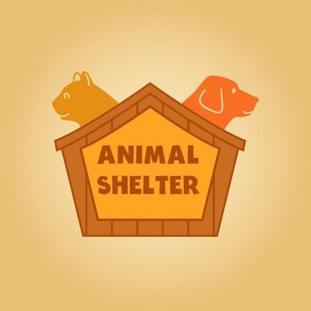 shelter: Vector icon logo for an animal shelter. Dog and a cat in a box