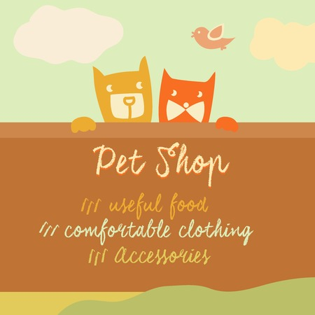 pet store advertising: Vector banner with space for text. Pets. Cartoon illustration. Illustration