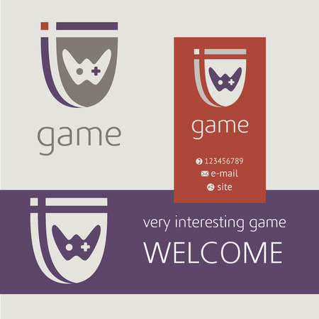 Gaming console controller vector logo. Buziness card, banner