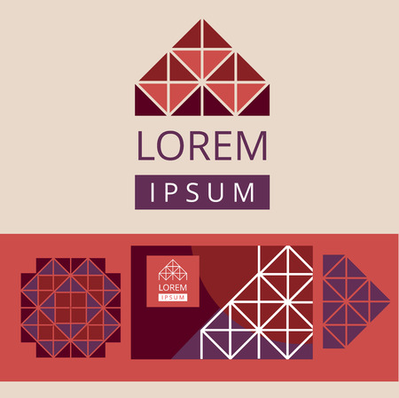 Abstract modern geometric logo and design elements. Crystal structure